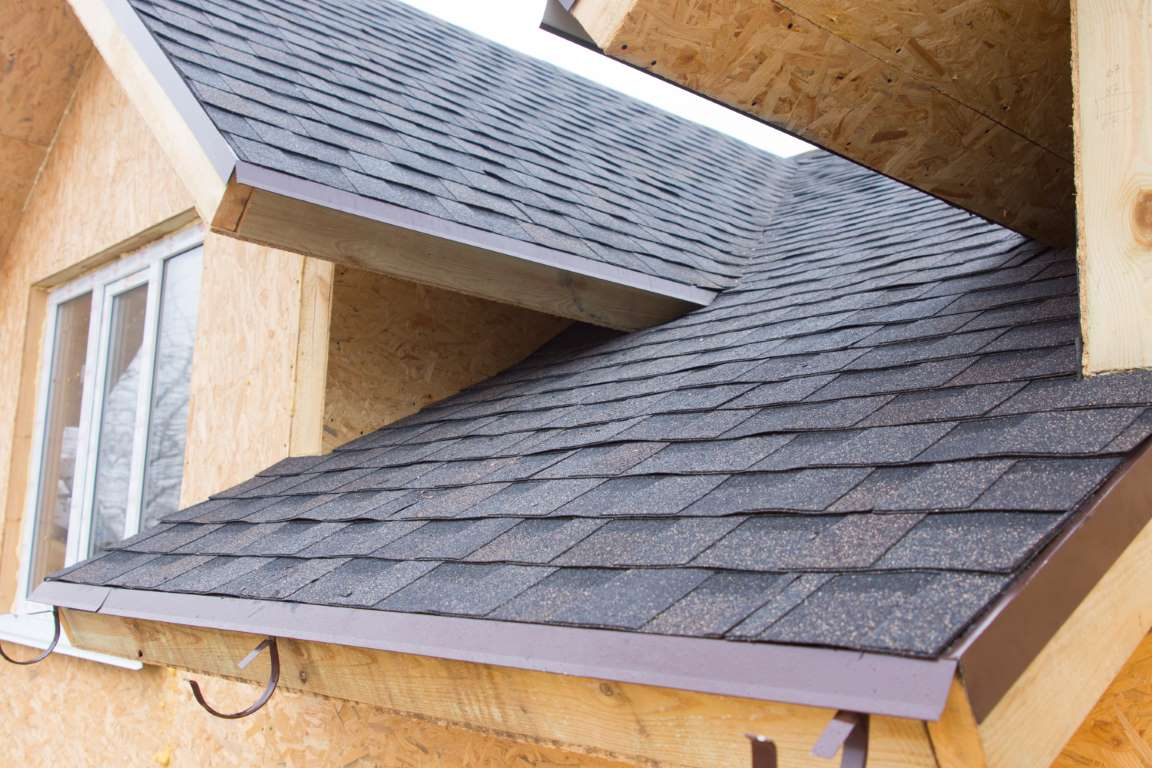 Detail of roofing tiles on a new build house